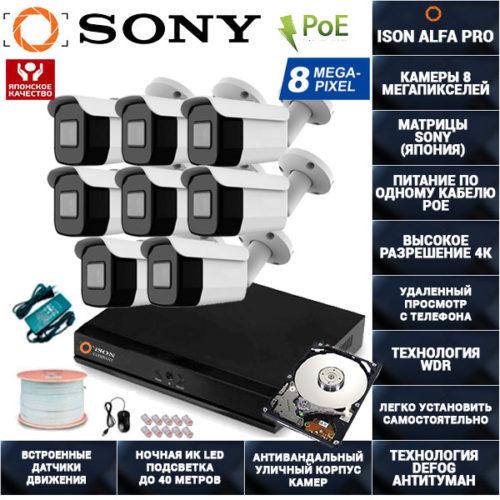 IP Система видеонаблюдения 8 камер POE 8 мегапикселей ISON ALFA-PRO-8 с жестким диском 1ТБ