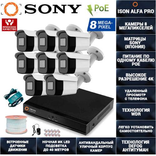 IP Система видеонаблюдения 8 камер POE 8 мегапикселей ISON ALFA-PRO-8