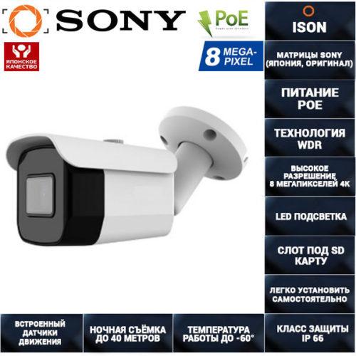 IP камера видеонаблюдения 8 мегапикселей с POE IP800TA30HPOE