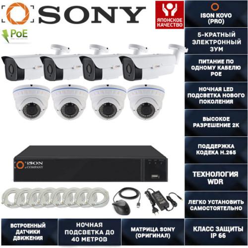 IP система видеонаблюдения на 8 камер POE с зумом ISON KOVO-8 К4