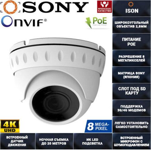IP камера видеонаблюдения 8 мегапикселей с SD картой POE IP800SL20HPOE