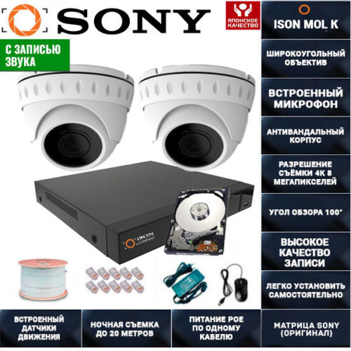 IP POE система видеонаблюдения со звуком НА 2 КАМЕРЫ ISON MOL K-2 с жестким диском