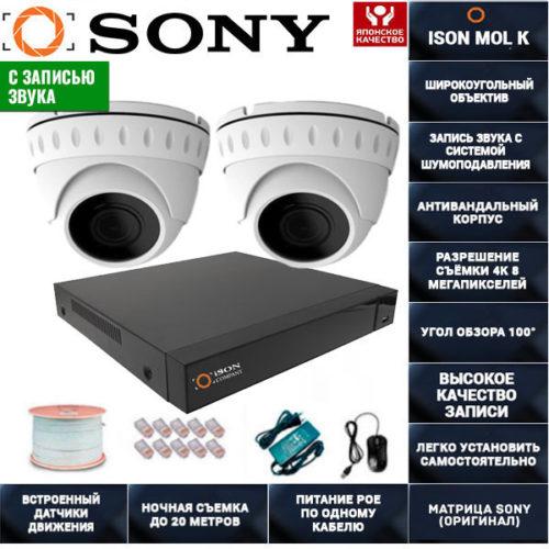 IP POE система видеонаблюдения со звуком НА 2 КАМЕРЫ ISON MOL K-2