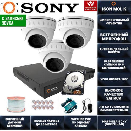 IP POE система видеонаблюдения со звуком НА 3 КАМЕРЫ ISON MOL K-3 с жестким диском