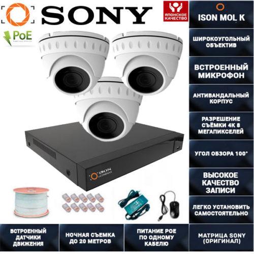 IP POE система видеонаблюдения со звуком НА 3 КАМЕРЫ ISON MOL K-3