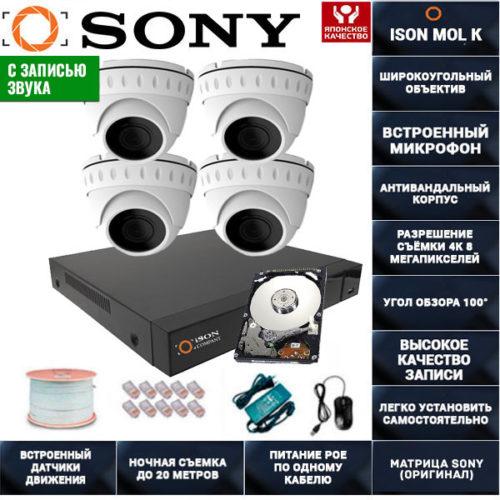 IP POE система видеонаблюдения со звуком НА 4 КАМЕРЫ ISON MOL K-4 с жестким диском
