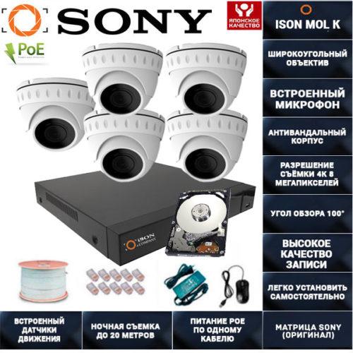 IP POE система видеонаблюдения со звуком НА 5 КАМЕР ISON MOL K-5 с жестким диском