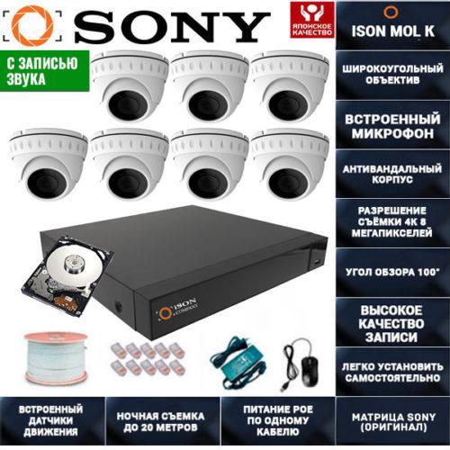 IP POE система видеонаблюдения со звуком НА 7 КАМЕР ISON MOL K-7 с жестким диском