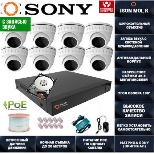 IP POE система видеонаблюдения со звуком НА 8 КАМЕР ISON MOL K-8 с жестким диском