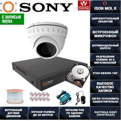 IP POE система видеонаблюдения со звуком ISON MOL K-1 с жестким диском