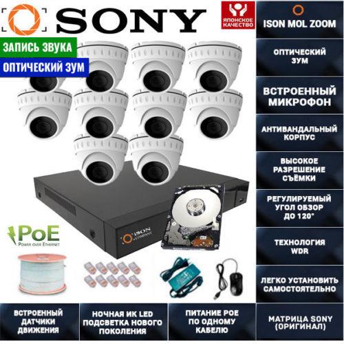 IP POE система видеонаблюдения со звуком НА 10 КАМЕР ISON MOL ZOOM-10 с жестким диском