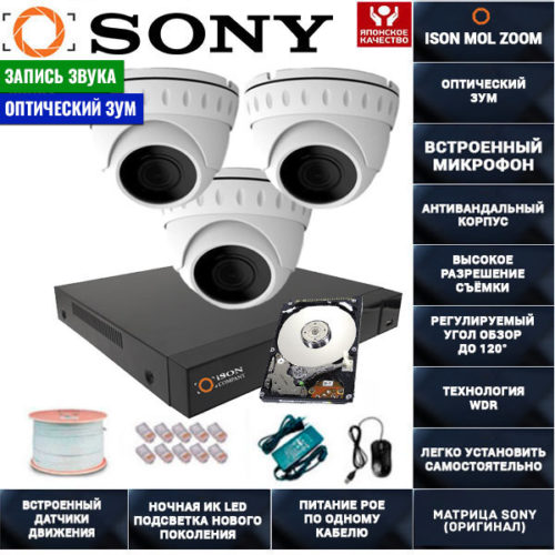 IP POE система видеонаблюдения со звуком НА 3 КАМЕРЫ ISON MOL ZOOM-3 с жестким диском