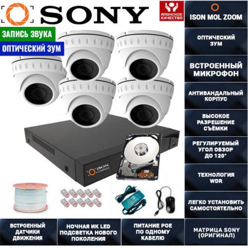 IP POE система видеонаблюдения со звуком НА 5 КАМЕР ISON MOL ZOOM-5 с жестким диском