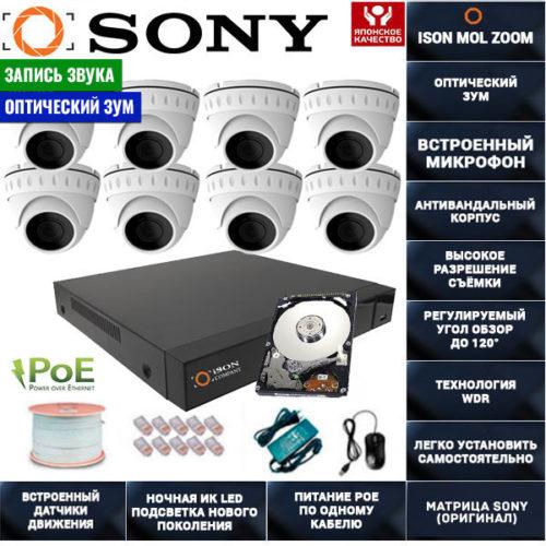 IP POE система видеонаблюдения со звуком НА 8 КАМЕР ISON MOL ZOOM-8 с жестким диском