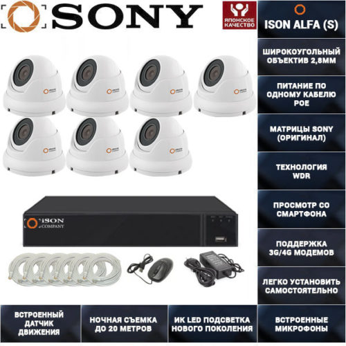 Готовая система видеонаблюдения на 7 камер с POE ISON ALFA-7 K7