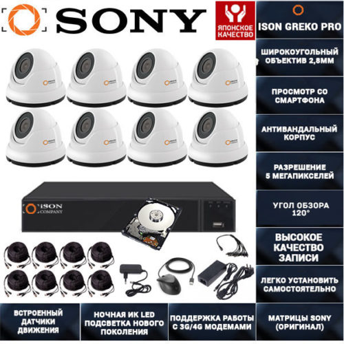 Готовое видеонаблюдения на 5 мегапикселей ISON Greko-8 K8 с жестким диском 1000ГБ