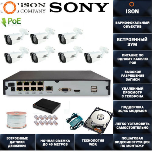 IP Система видеонаблюдения с зумом на 7 камер POE ISON SPARK-7 С ЖЕСТКИМ ДИСКОМ