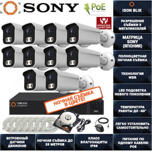 IP POE система видеонаблюдения на 10 камер ISON BLIK-10 с жестким диском