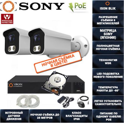 IP POE система видеонаблюдения на 2 камеры ISON BLIK-2 с жестким диском
