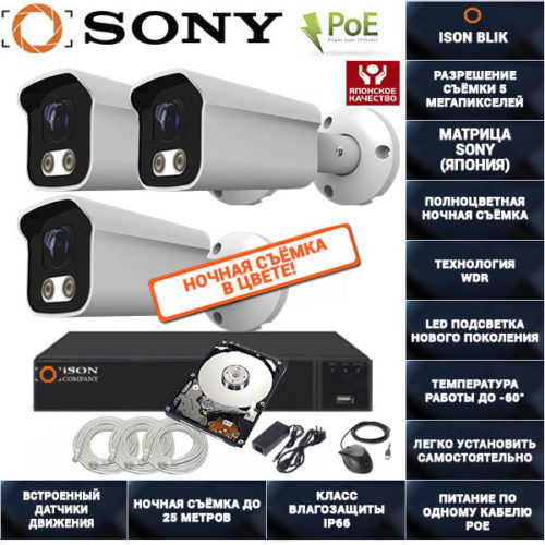 IP POE система видеонаблюдения на 3 камеры ISON BLIK-3 с жестким диском