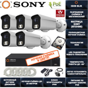 IP POE система видеонаблюдения на 5 камер ISON BLIK-5 с жестким диском