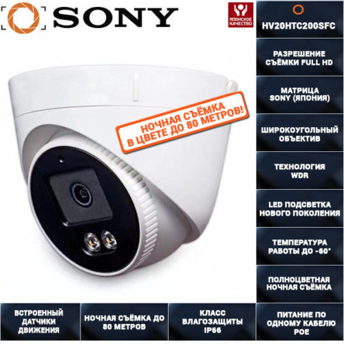AHD камера видеонаблюдения 2 мегапикселя AHDHV20HTC200SFC 2,8ММ