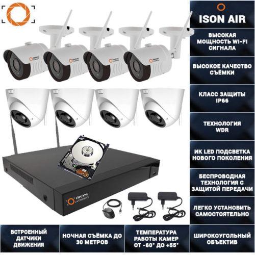 Беспроводная wi-fi система видеонаблюдения на 8 камер ISON AIR-8 K4 с жестким диском